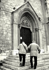 Together (Kurlylox1) Tags: door church togetherness holding couple catholic cathedral sarajevo together older helping