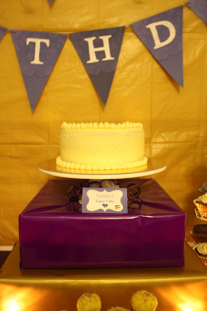 30th Birthday: Golden-Violet - Dessert & Party Table Theme - Vanilla Layer Cake