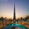 Burj Khalifa (DanielKHC) Tags: sunset panorama water vertical digital mall hotel 1 al nikon dubai cityscape dusk uae explore khalifa souk fountains dri address burj blending bahar d300 danielcheong danielkhc vertorama tokina1116mmf28