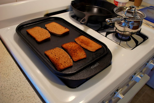 my toaster oven got broken and then stolen so I toasted bread on the stove