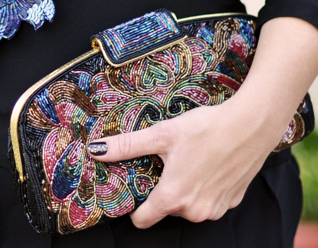 vintage beaded clutch-glitter manicure