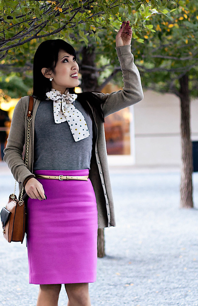 banana republic zipper trim cardigan, mng by mango neck-tie sweater tank, j. crew double serge wool pencil skirt in bright dahlia, marco santi dash nude pumps, melie bianco color block party purse, ann taylor gold skinny belt, brooklyn bakery 0.5 brown vintage leather bracelet, michael kors rose gold small runway watch mk5430