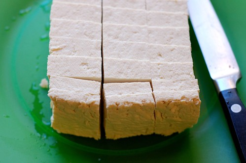 Sliced, drained tofu by Eve Fox, Garden of Eating blog, copyright 2011