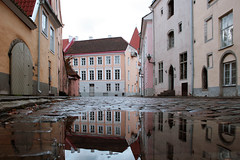Spontaneous shot (roomman) Tags: street old trip houses house reflection water stone facade puddle mirror tallinn estonia view stones weekend facades cobble reflect cosy tallin reval 2011 oldywoldy