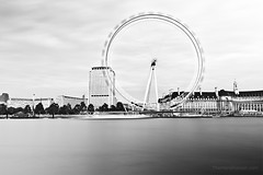 London Eye High-Key in Motion (www.thameralhassan.com Thamer Al-Hassan) Tags: uk longexposure travel light england bw motion black building london eye tourism monument water thames architecture contrast river photography lights pier photo blackwhite movement focus europe exposure photographer image britain contemporary modernart fineart great sightseeing picture shell dramatic highcontrast londoneye best southbank architect waterloo filter nd stunning highkey fullframe tones modernarchitecture embankment attraction architectures alhassan thamer 5dmarkii 5dmkii 5dmark2 thameralhassan