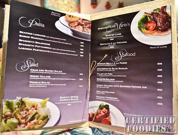 Glossy pages of Mario's menu