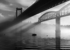 Shadows in the mist. (jamiegaquinn) Tags: charity bridge river cornwall calendar yacht albert royal devon tamar 2012 brunel saltash royalalbertbridge iplymouth