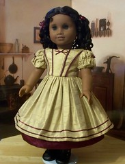 1853 Silk and Moire Gown (Keepersdollyduds) Tags: girl doll silk american moire 1853 cecile ruching mariegrace keepersdollyduds