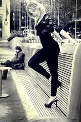 Julie & Bench (kenneth barton) Tags: portrait woman sexy beautiful portland portlandia pdx parkbench blackdress godess fullbodyshot kennethbarton juliewebb directorpark