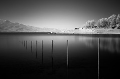 Infrared Scenery (Konstantinos Besios) Tags: longexposure blackandwhite bw lake greece infrared silkywater hoyar72filter plastiraslake fujix100