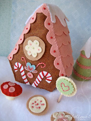 gingerbread house back (merwinglittle dear) Tags: christmas boy house holiday snow cookies cane toy pattern candy display embroidery gingerbread felt plush lane land lollipop frosting candyland