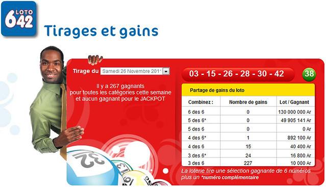 résultat loto 6/42 du 26 novembre 2011