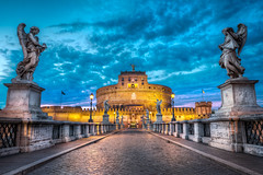 Path Of Angels - (Rome, Italy) (blame_the_monkey) Tags: city travel bridge italy rome roma saint architecture night europe italia angels bluehour portfolio hdr santangelo