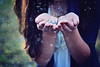 (AmyJanelle) Tags: blue white green colors girl glitter silver hair gold necklace hands purple bokeh magic
