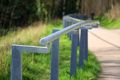 Follow the path (hobbitbrain) Tags: park shadow grass fence kent dof bokeh path sony depthoffield railing tamron medway gillingham greatlinesheritagepark