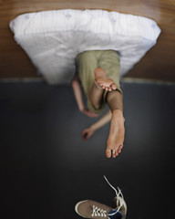 Up. (David Talley) Tags: fall feet foot shoe bed focus shoes floor pants ceiling sheets rotation sheet hm upward flipped bedding rotated shoelace rotate levitate 365project davidtalley hmshoes