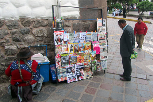 Newsstand near Plaza Kusipata in Cuzco, Peru