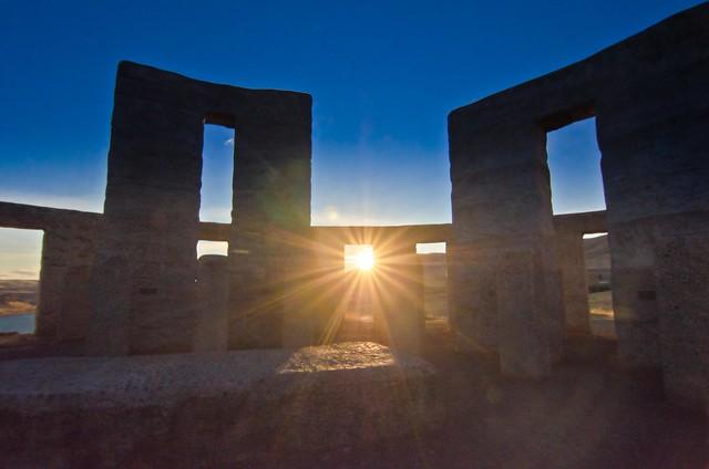 Sunset through Stonehenge, Washington