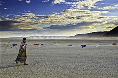 (BlackRockBacon) Tags: sunset color walking person playa rightsofpassage pentaxk5 burningman2011