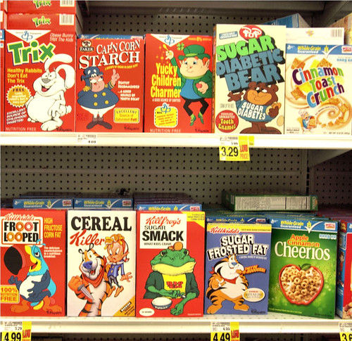 Cereal Boxes in LA Grocery Store by Ron English
