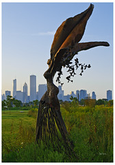 Cadillac Daphne - Northerly Island (swanksalot) Tags: park sculpture chicago skyline meadow cadillac daphne faved miegs northerlyisland dessakirk