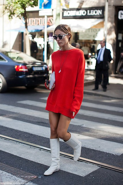 red sweater dress with white boots