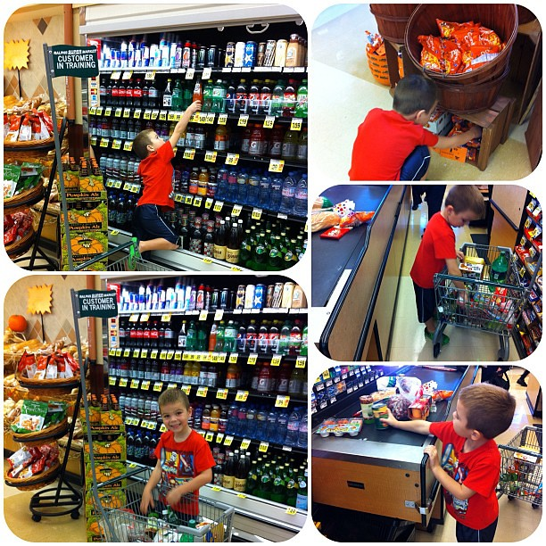 My Grocery Shopper in Training. He was in charge today.