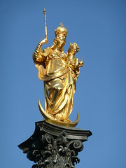 Statue of Mary, Queen of Heaven, atop the Mariensäule (Marian Column)