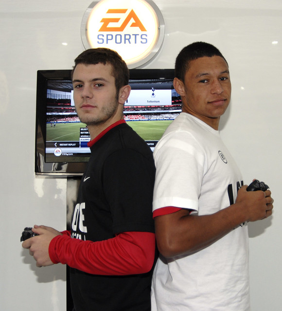 Wilshere and Oxlade-Chamberlain at the Arsenal FIFA 12 Pro Player Tournament
