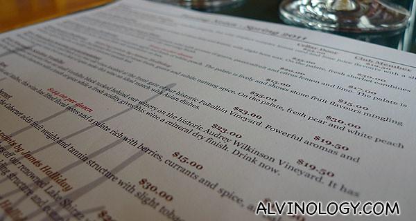 Going through the menu