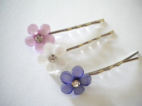 Pastel Purples Flower Hair Pins
