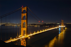 Golden Gate Bridge Over San Franciso Bay at Night (David Gn Photography) Tags: goldengatebridge sanfrancisco california ca bayarea reflection night scene landscape lighttrails travel driving transportation marinheadlands nationalrecreationarea parks bluehour scenic view skyline cityscape water pier downtown canoneos60d raw sigma50th sigma1020mmf35exdchsm sausalito sf longexposure