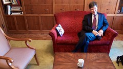 Jeffrey Sachs relaxing in Tim's office before the forum