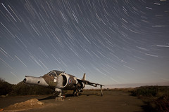 Harrier GR.3 XV753 ([Nocturne]) Tags: nightphotography light lightpainting abandoned graveyard night plane nocturne raf startrails harrier noctography wwwnoctographycouk