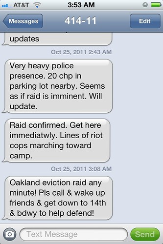 Text alert from Occupy Oakland demonstrators