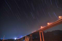 Star trials  (Vincent_Ting) Tags: sky taiwan freeway bluehour  startrails interchange  nantou hightway