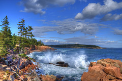 Ocean Blue [EXPLORE] (Moniza*) Tags: ocean park nikon rocks searchthebest maine explore national splash acadia thunderhole d90 explored moniza photographerschoice~halloffame