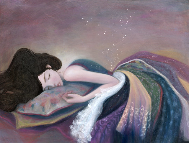 "Sleep to Dream. 18"" x 24"". Acrylic & Colored Pencil on Panel. © 2011."