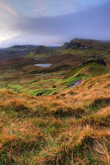 South at Sunrise (Meredith Lewis) Tags: uk greatbritain cloud skye clouds sunrise landscape dawn scotland europe isleofskye innerhebrides unitedkingdom britain hills landslide gb cleat hebrides trotternish landslip quiraing dundubh biodabuidhe cnocamhirlich