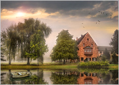 The park (Jean-Michel Priaux) Tags: park trees house mist france home nature fog forest photoshop painting landscape fishing nikon niceshot dream alsace romantic paysage maison parc hdr brume barque auberge tang htel romantique d90 priaux itterswiller mygearandme ringexcellence musictomyeyeslevel1 bernarvill