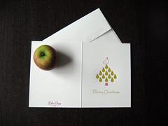 Pear Tree Letterpress Holiday Card (dolcepress) Tags: pink ny newyork green longisland envelope custom letterpress merrychristmas greetingcard a2 partridge christmascard peartree holidaycard creased 2011 11716 dolcepress