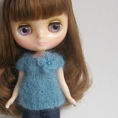 Aqua Mohair Babydoll Sweater
