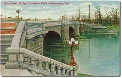 30th Street Bridge at Riverside Park, Indianapolis, Indiana (Hoosier Recollections) Tags: usa color history buildings indianapolis parks bridges indiana streetscene rivers streams lampposts marioncounty hoosierrecollections
