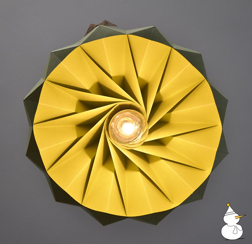 yellow and grey folded paper lamp
