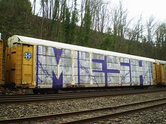 MESH ~ Wholecar ~ Portland, Oregon (SkinnyKidN/W2) Tags: auto california ca railroad travel trees usa canada green art car st cali oregon burlington america train bench portland mexico photography graffiti big paint nw track northwest mesh tag graf hill north tracks rr tags scene canadian crack whole huge pdx fe dope piece northern sick westcoast tagging johns carrier freight bnsf slope bombing bluff sante tagger autorack tressel ttx wholecar bombin fr8 tressle benching puprple ettx autoraxx nasty93cc 901265