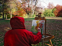 red (lucymagoo_images) Tags: park autumn trees red fall philadelphia colors leaves painting outdoors pennsylvania painter philly fairmount lucymagoo lucymagooimages