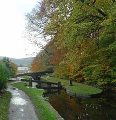 Hall Lock (jrw080578) Tags: autumn trees shop canal lock tesco saddleworth huddersfieldnarrowcanal