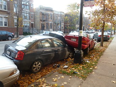 Sunday Morning Accident (Mark 2400) Tags: chicago car accident parked avenue damen