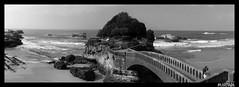 Biarritz B&W (maxmythoz) Tags: sea bw mer france beach surf noiretblanc wave pont paysage vagues plage biarritz panoramique landes