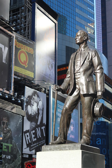 Frank M. Cohen statue in Times Square
